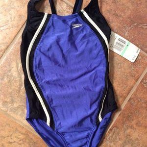 Speedo Girls Size 8 One Piece Swimsuit Cobalt Blue